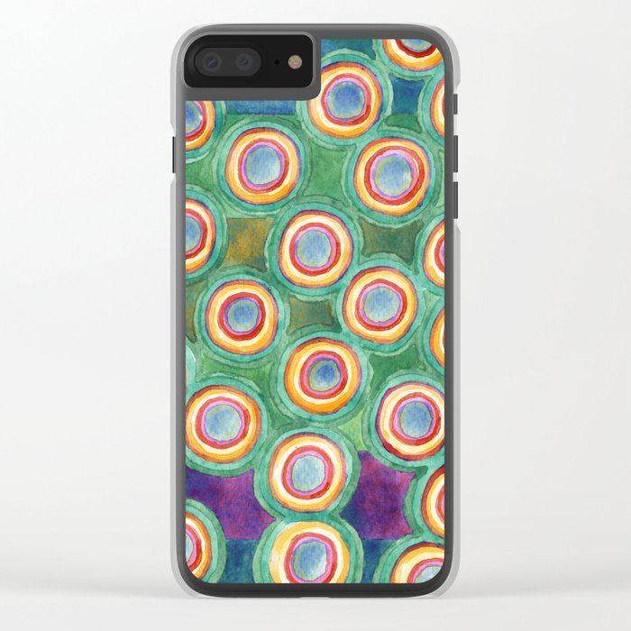 Multicolorful Circles in Front of Horizontal Stripes Clear iPhone Case
