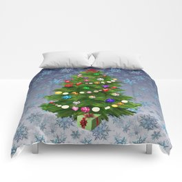 Christmas tree & snow v.2 Comforters