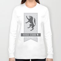 house stark Long Sleeve T-shirts featuring House Stark Sigil V2 by P3RF3KT