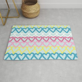 Colorful doodle hearts over blue Rug
