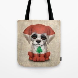 Cute Puppy Dog with flag of Lebanon Tote Bag