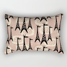 Mid Century Modern Giraffe Pattern Black and Beige Rectangular Pillow