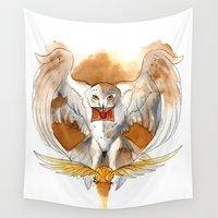potter Wall Tapestries featuring Potter Hedwig Owl by Rubis Firenos