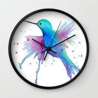 craftberrybush Wall Clocks featuring Hummingbird watercolor  by craftberrybush