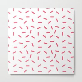 White with Pink Metal Print