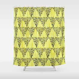 Dots + Stripes - Gold Shower Curtain