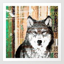 Industrial Woodland Wolf Art Print