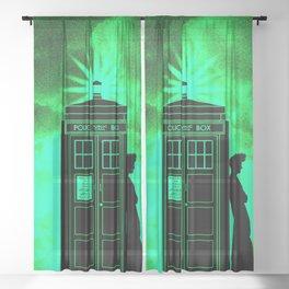 Tardis Light Green Shadow Sheer Curtain