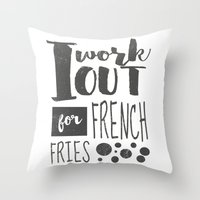 fries Throw Pillows featuring French Fries by Emily Vickery