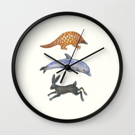 Pangolin, dolphin and a hare Wall Clock