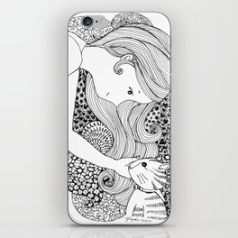 Sweet Girl and Cat Doodle iPhone Skin