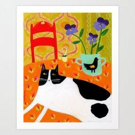 Tuxedo Cat on the Table with Black Bird planter Art Print