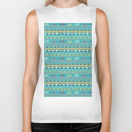 Geometrical teal orange colorful tribal aztec Biker Tank