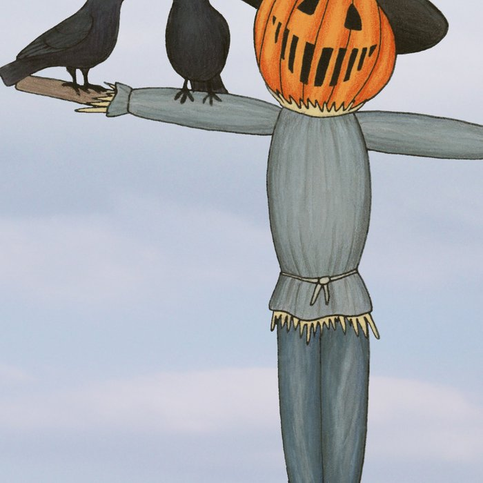 scarecrow and crows in the pumpkin patch Leggings