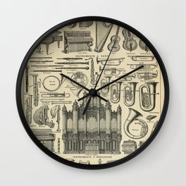 String Instruments Vintage Scientific Illustration French Language Encyclopedia Lithographs Educatio Wall Clock