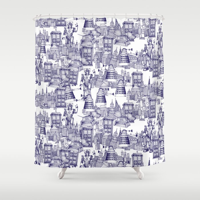 Doctor Who Toile De Jouy | U0027Walking Doodleu0027 | Blue Shower Curtain