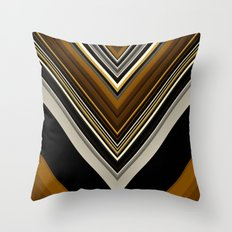 Retro Triangles Pattern in black, grey, yellow and brown Throw Pillow