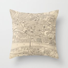 Vintage Map of Newcastle England (1851) Throw Pillow