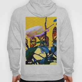 MONARCH BUTTERFLIES & ROSE ABSTRACT Hoody