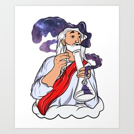 Jesus Christ Smoking Pot - Galaxy - Funny Offensive Cartoon Design Art Print