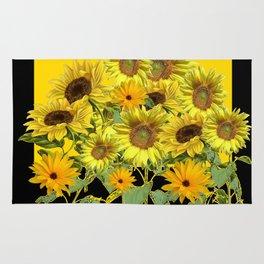 GOLDEN -BLACK SUNNY YELLOW SUNFLOWERS FIELD ART Rug