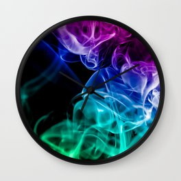 smoke colored smoke colorful rainbow dark Wall Clock