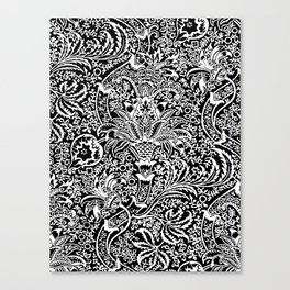 William Morris Indian, Black and White Canvas Print