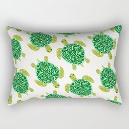 Sea Turtle – Green Palette Rectangular Pillow