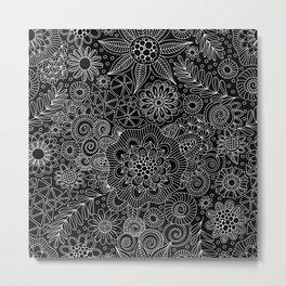 Black Doodle Pattern Metal Print