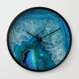 Teal Blue Agate slice Wall Clock