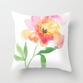 Single stem Peony Throw Pillow