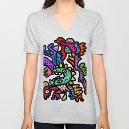 Cool Aztec Creatures Street Art  Unisex V-Neck