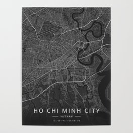 Ho Chi Minh City, Vietnam - Dark Map Poster