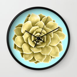 Yellow Succulent Plant on Teal Wall Clock