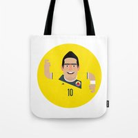 colombia Tote Bags featuring James Rodriguez - Colombia by Gary  Ralphs Illustrations