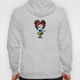 Day of the Dead Girl Playing Ukrainian Flag Guitar Hoody