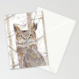 "Watercolor Painting of Picture ""Owl in the Forest"" Stationery Cards"