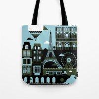 paris Tote Bags featuring Paris by koivo