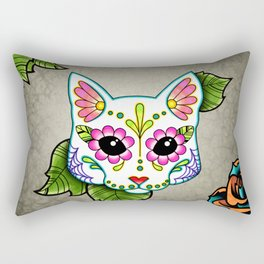 White Cat - Day of the Dead Sugar Skull Kitty Rectangular Pillow