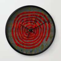 art history Wall Clocks featuring History layers by Menchulica