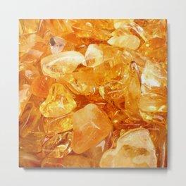"""Amber Quartz Solar Orange Crystal Opal Gem Stone"" Metal Print"