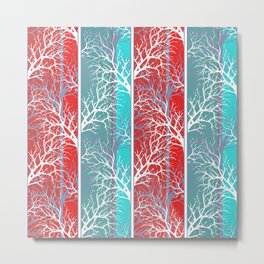 Red blue abstract trees striped lined Metal Print
