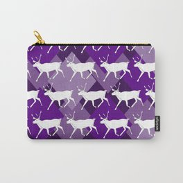 Reindeer Print Purple Carry-All Pouch