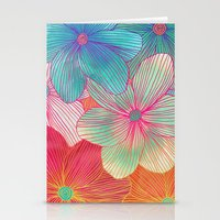 mint Stationery Cards featuring Between the Lines - tropical flowers in pink, orange, blue & mint by micklyn