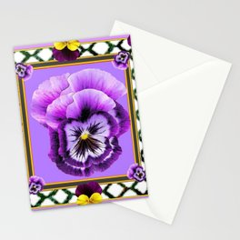 SPRING PURPLE & YELLOW PANSIES  GARDEN Stationery Cards