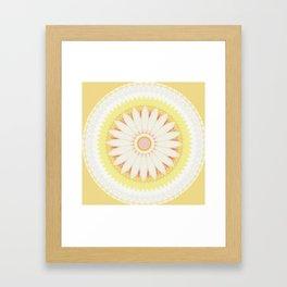 Sunshine Yellow Flower Mandala Abstract Framed Art Print