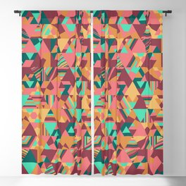 Colourful triangular mosaic in orange, red and green Blackout Curtain