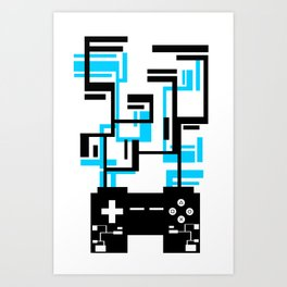 8-BIT JOYSTICK (BLUE AND BLACK) Art Print