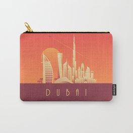 Dubai City Skyline Retro Art Deco Tourism - Sunset Carry-All Pouch