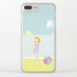 Girl at the beach with kite and ball in the 1950's vintage Clear iPhone Case